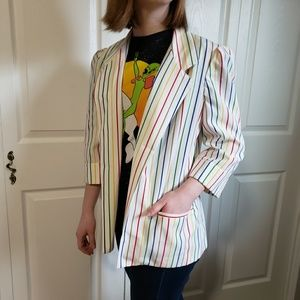 Fruit striped vintage Blazer jacket rainbow white